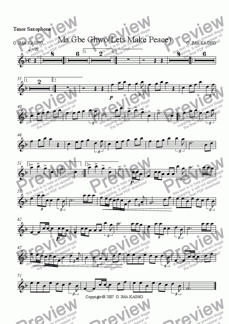 page one of the Tenor Saxophone part from Ma Gbe Ghwo(Lets Make Peace)