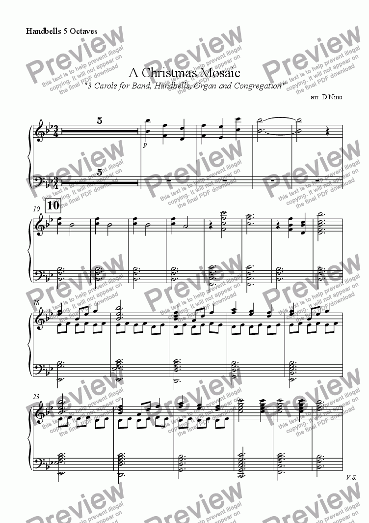 page one of the Handbells 5 Octaves part from A Christmas Mosaic