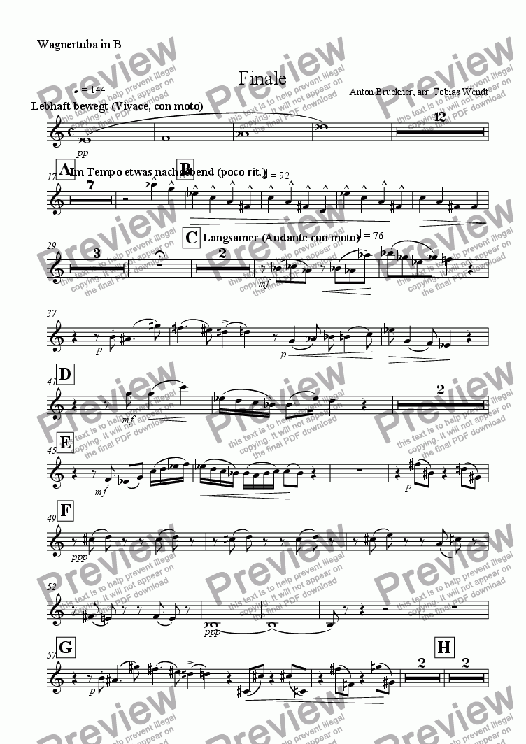 page one of the Wagnertuba in B part from Finale