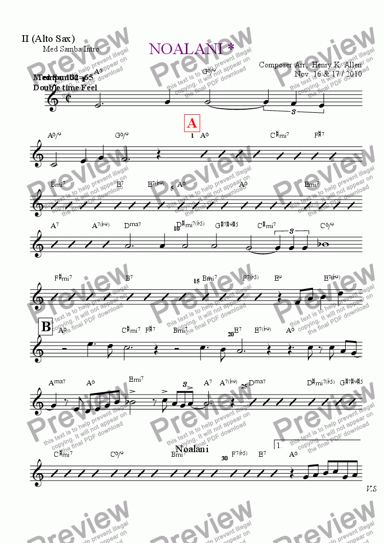 page one of the II (Alto Sax) part from NOALANI *