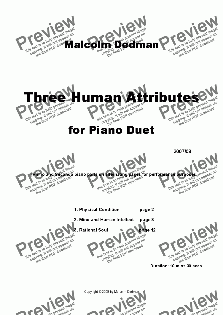 page one of the Secondo part from Three Human  Attributes