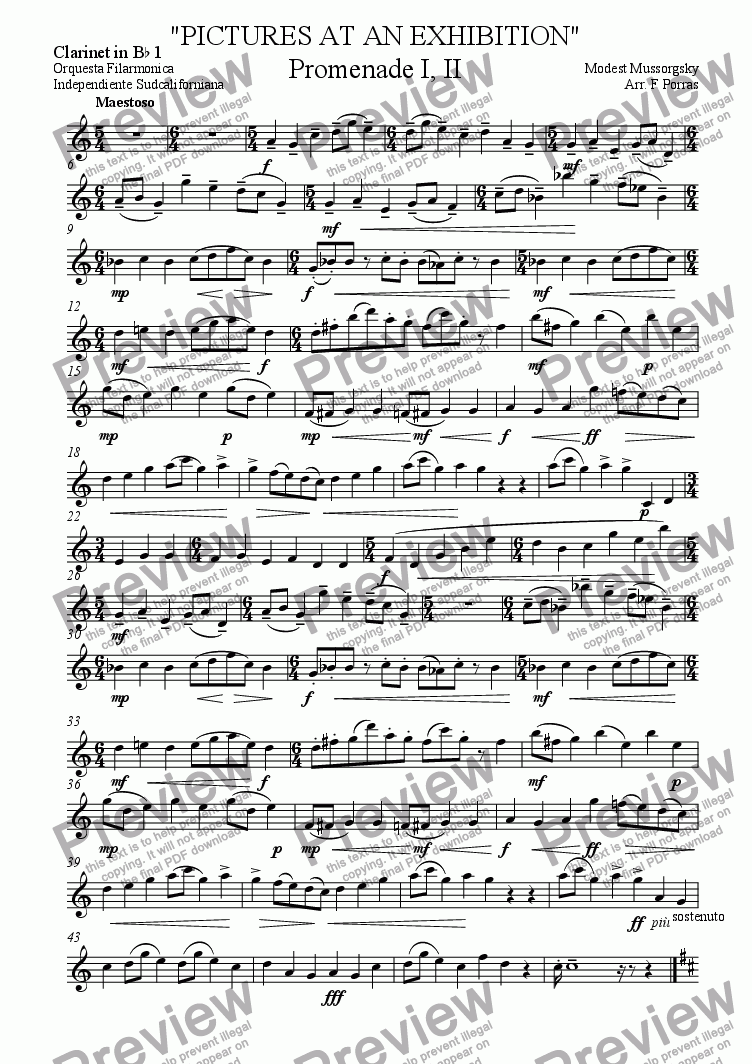 "page one of the Clarinet in B^b 1 part from ""PICTURES AT AN EXHIBITION"" Promenade I, II"
