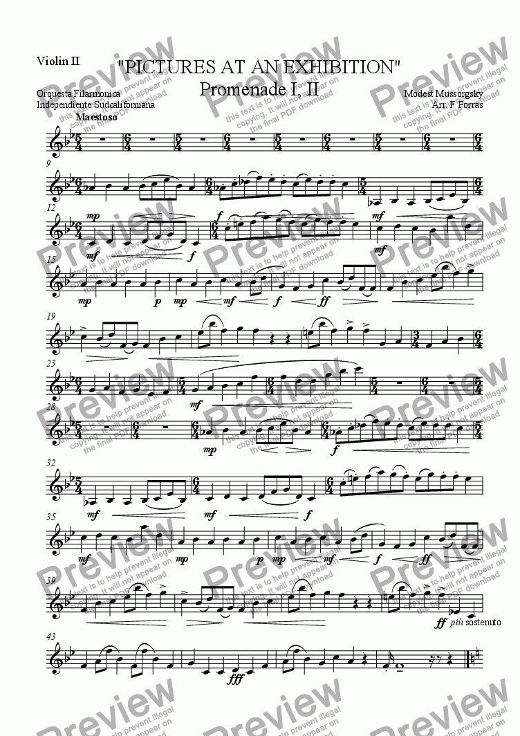 "page one of the Violin II part from ""PICTURES AT AN EXHIBITION"" Promenade I, II"
