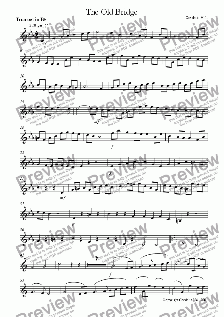page one of the trumpet in Bb part from The Old Bridge (for trumpet)