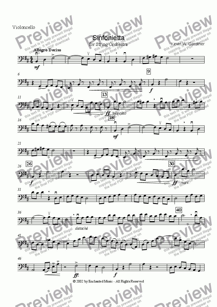 page one of the Cello part from Sinfonietta for String Orchestra