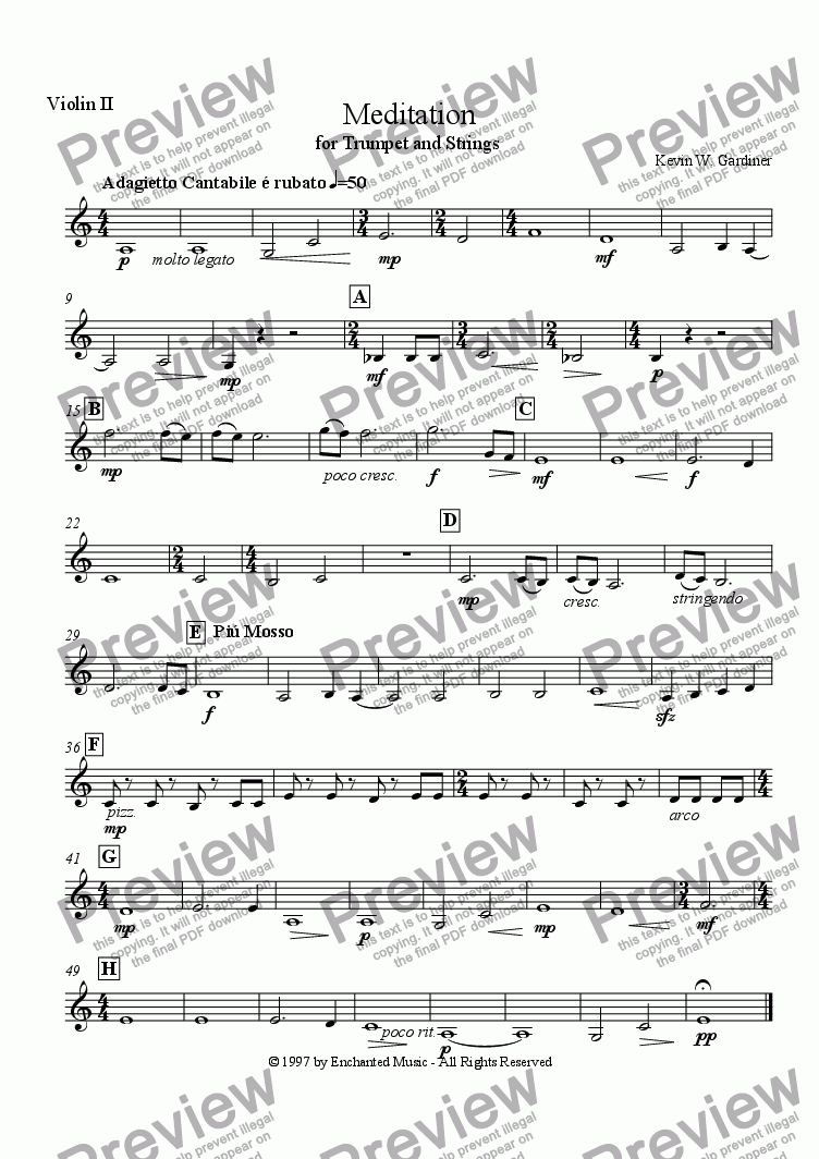 page one of the Violin 2 part from Meditation for Solo Trumpet & Strings