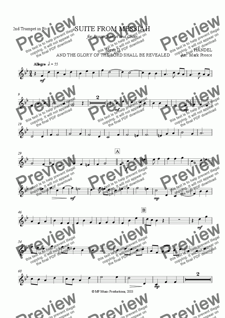 page one of the Trumpet 2 part from Handel Messiah Suite (ii) - And The Glory Of The Lord