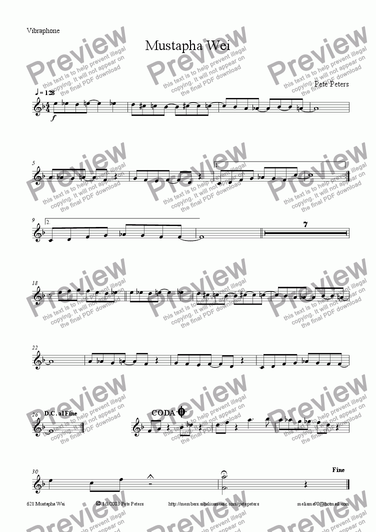 page one of the Vibes part from Mustapha Wei [Jazz 6tet]