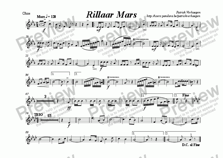 page one of the oboe part from Rillaar Mars (for wind band)