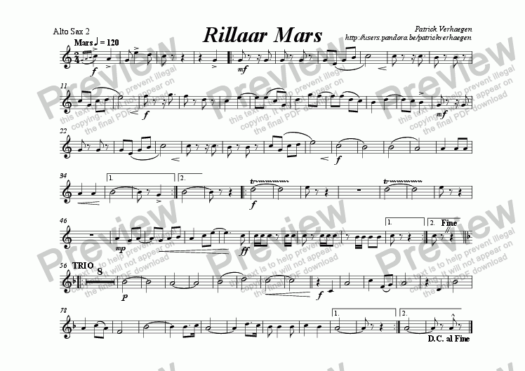 page one of the alto saxophone 2 part from Rillaar Mars (for wind band)