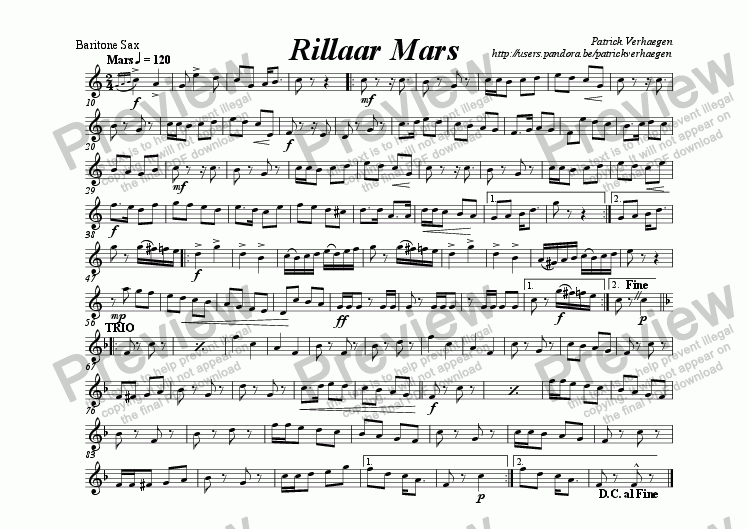 page one of the baritone saxophone part from Rillaar Mars (for wind band)