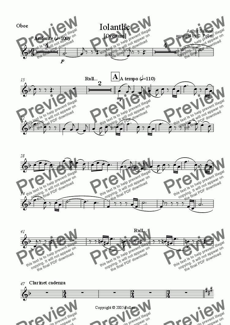 page one of the Oboe part from Overture: Iolanthe (ME)