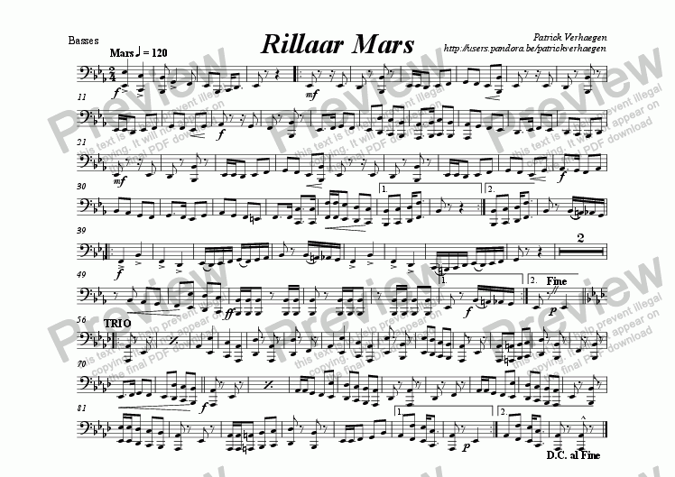 page one of the basses part from Rillaar Mars (for wind band)