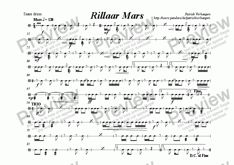 page one of the snare drum part from Rillaar Mars (for wind band)