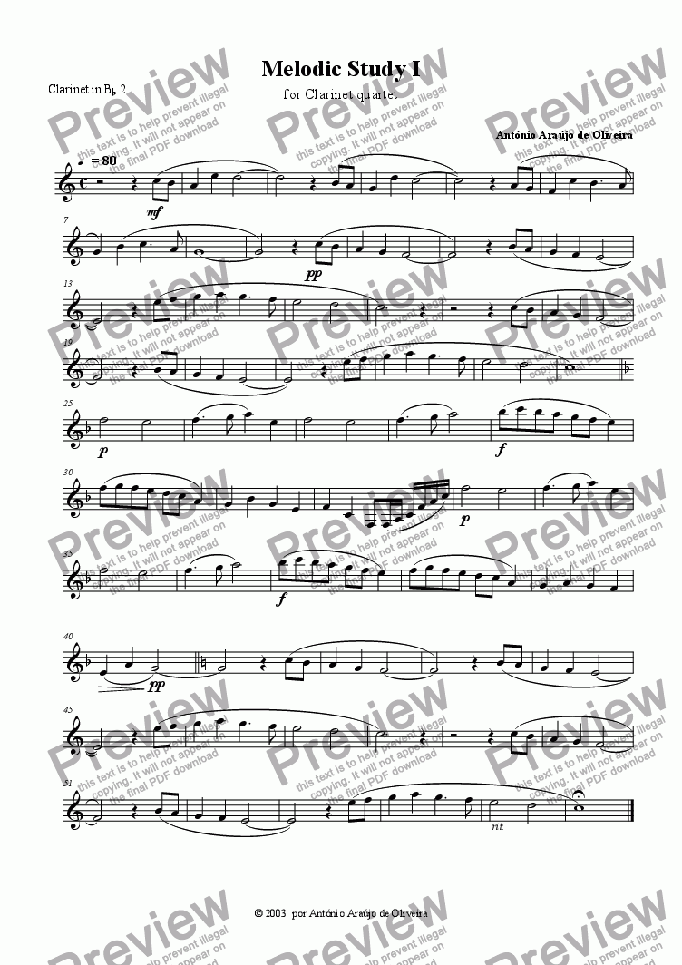 page one of the Clarinet 2 part from Melodic Study I