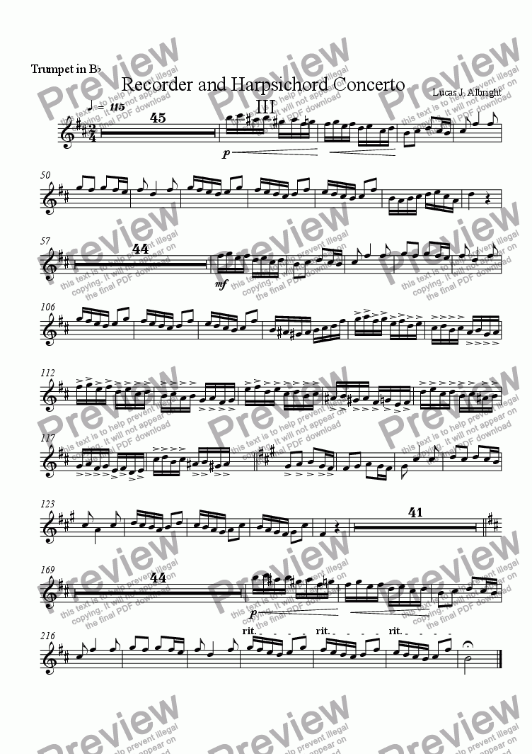 page one of the Trumpet in B^b part from Recorder and Harpsichord Concerto  III