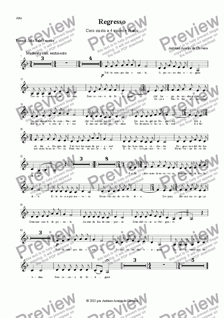 page one of the Alto part from Regresso