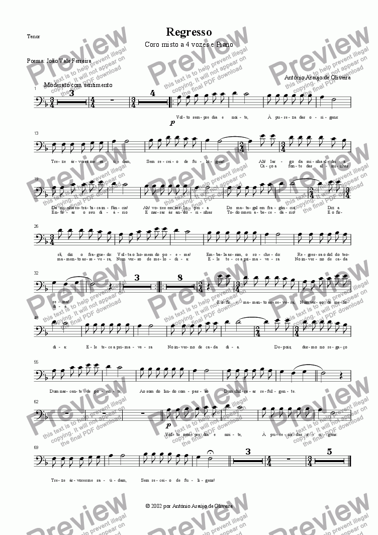 page one of the Tenor part from Regresso