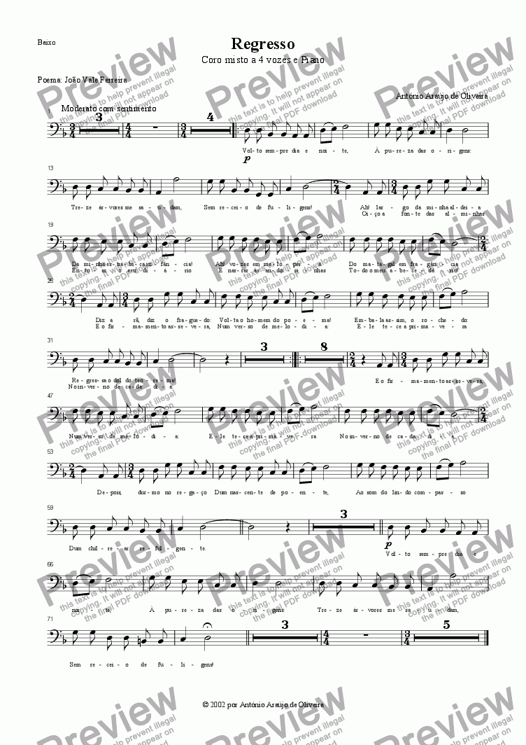 page one of the Bass part from Regresso
