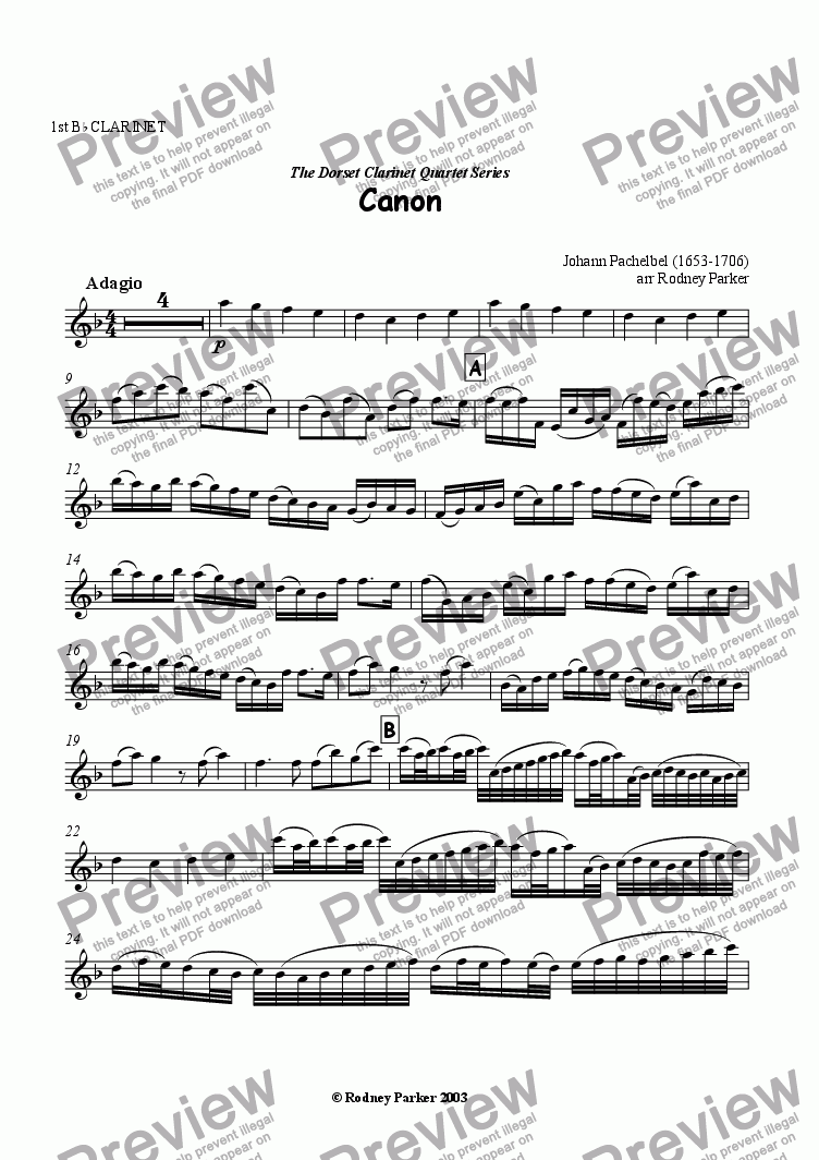 page one of the 1st Bb Clarinet part from Canon
