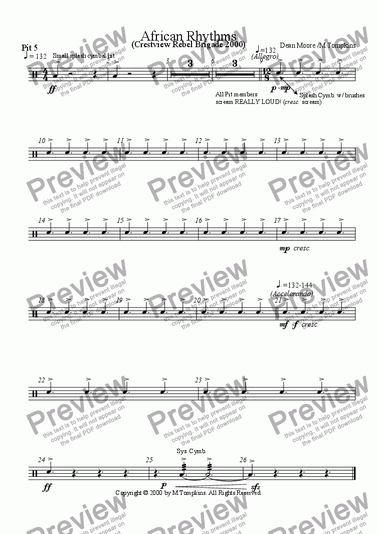 page one of the Pit 5 part from African Rhythms