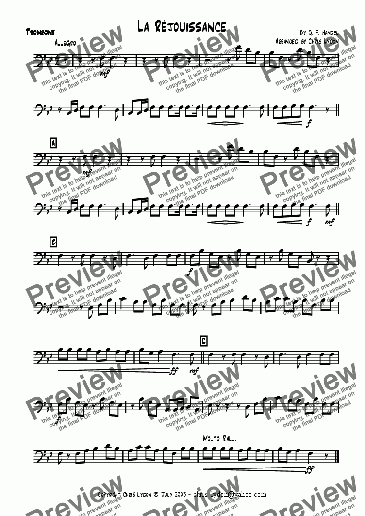 page one of the Trombone part from La R�jouissance