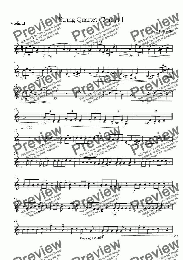page one of the Violin II part from String Quartet #7, movement 1