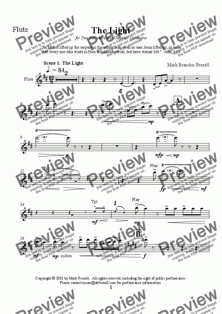 page one of the Flute part from The Light for 2 narrators and chamber orchestra - Scenes 1 and 2 of 5 (2003)
