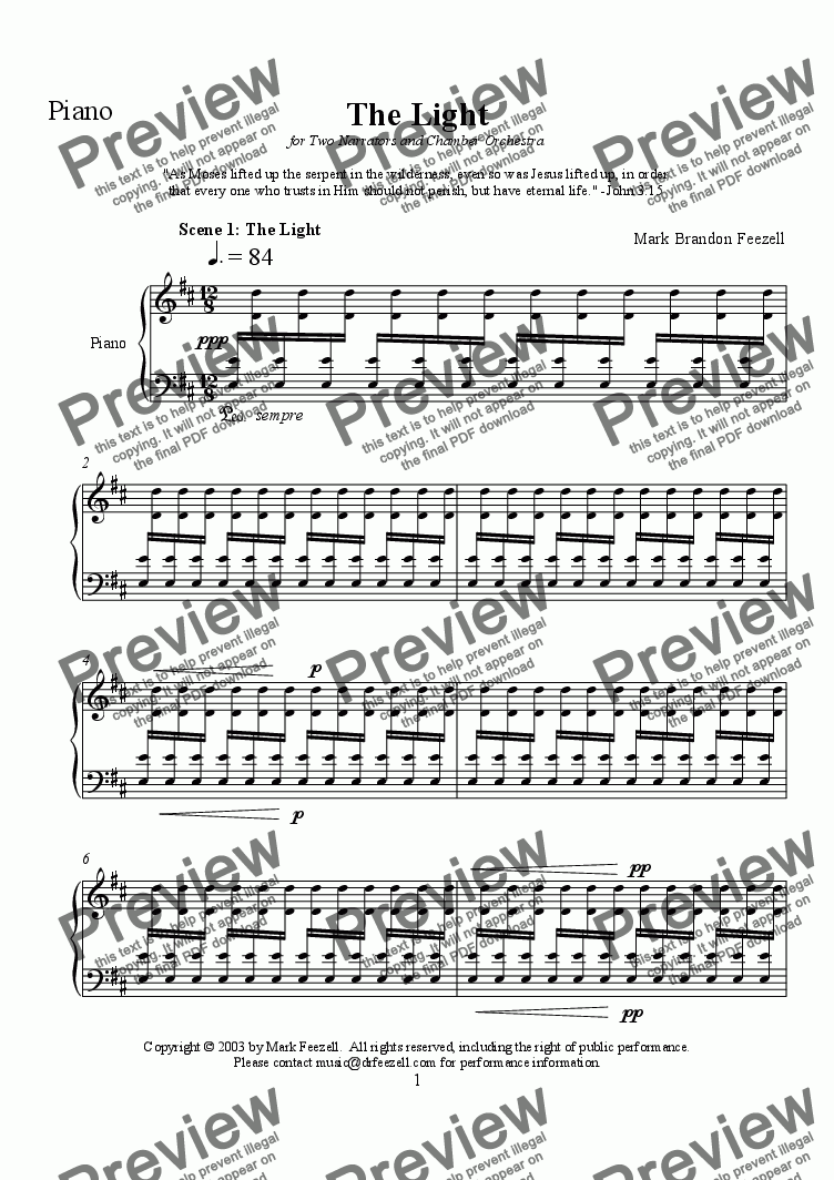 page one of the Piano part from The Light for 2 narrators and chamber orchestra - Scenes 1 and 2 of 5 (2003)