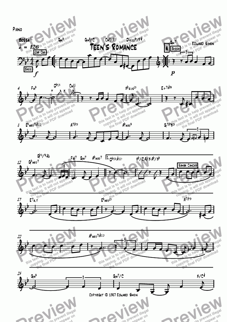 page one of the Piano part from Teen's Romance