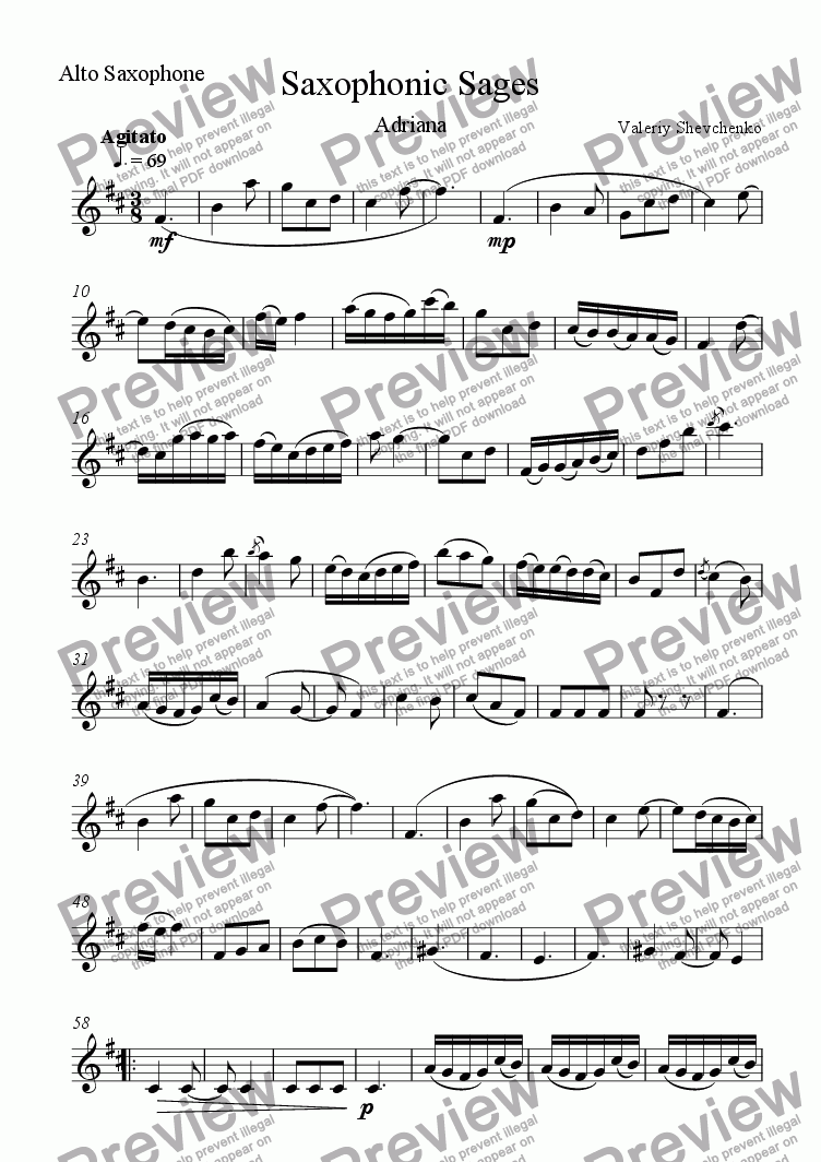 page one of the A. Saxophone part from Saxophonic Sages