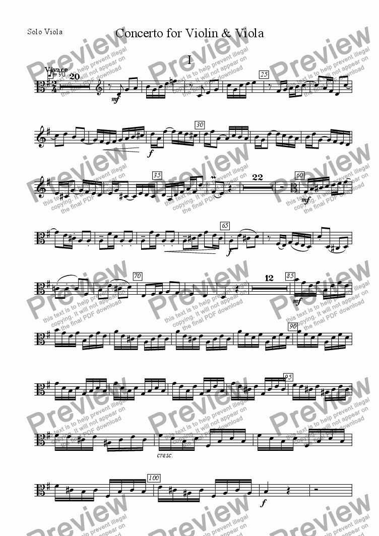 page one of the Solo Viola part from Concerto for violin, viola & strings