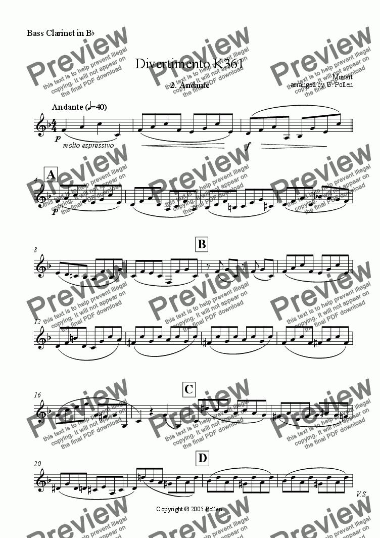 page one of the Bass Clarinet in Bb part from Divertimento [K361]  2. Andante