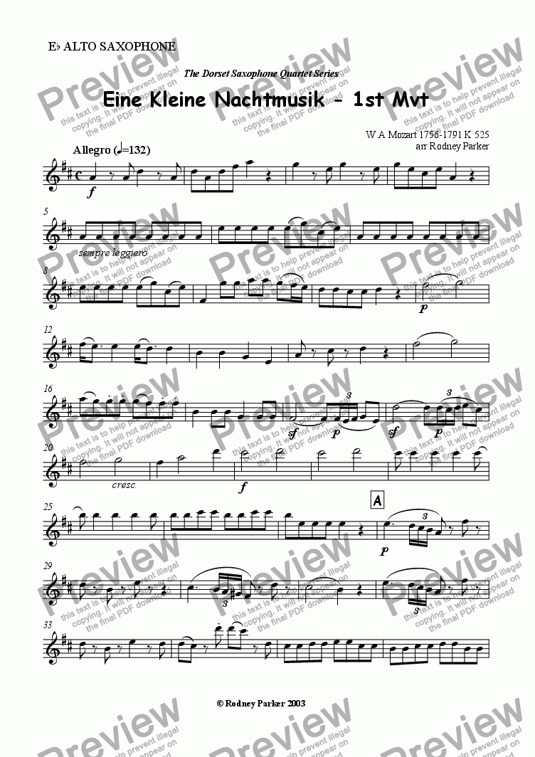 page one of the Alto Sax part from 1st Mvt Eine Kleine Nachtmusik arr for Sax Quartet