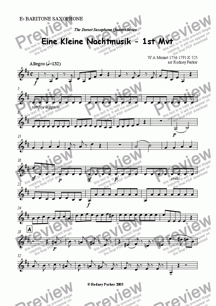 page one of the Baritone Sax part from 1st Mvt Eine Kleine Nachtmusik arr for Sax Quartet