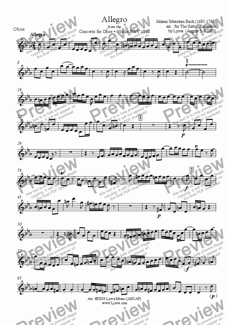 page one of the Oboe part from Allegro from the Concerto for Oboe + Violin + Orchestra BWV 1060 (arr. for chamber ensemble)