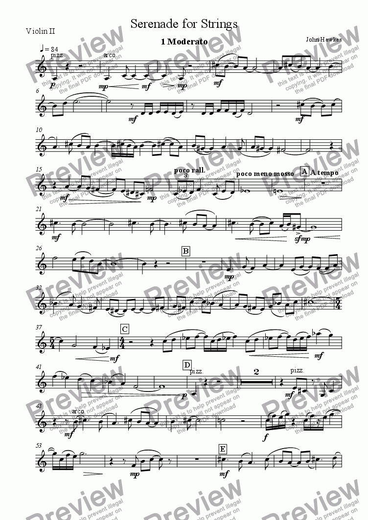 page one of the Violin 2 part from Serenade for Strings