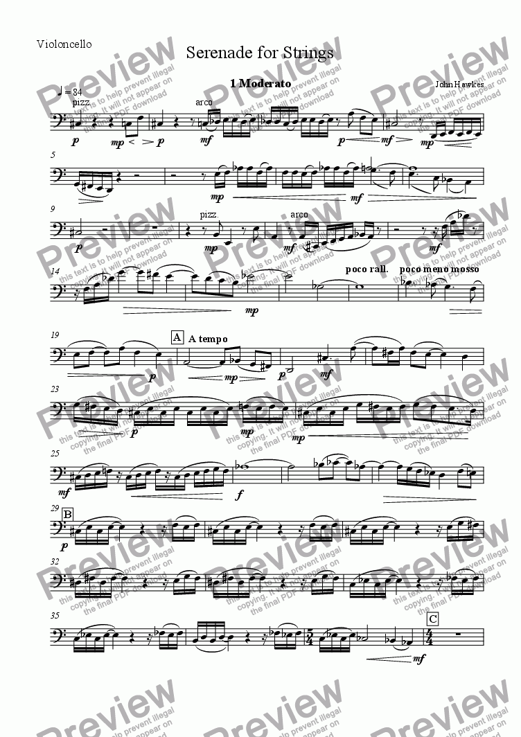page one of the Cello part from Serenade for Strings