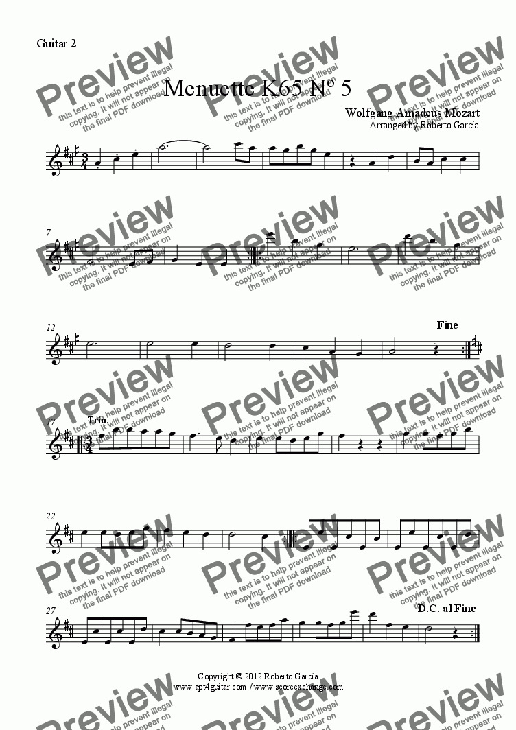 page one of the Guitar 2 part from Menuette K65 Nº 5 for guitar trio