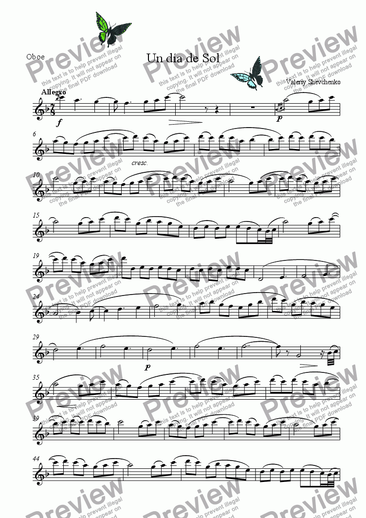 page one of the oboe part from Un d�a de Sol (for Oboe & piano)