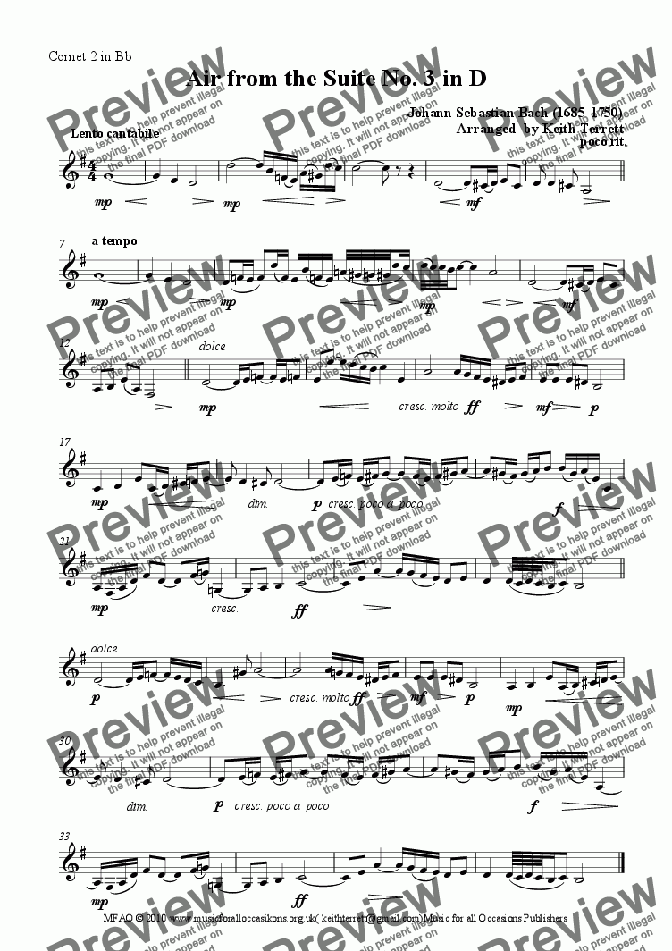 page one of the Cornet 2 in Bb part from Air from the Suite No. 3 in D for Brass Band Quartet (Jazzy version)