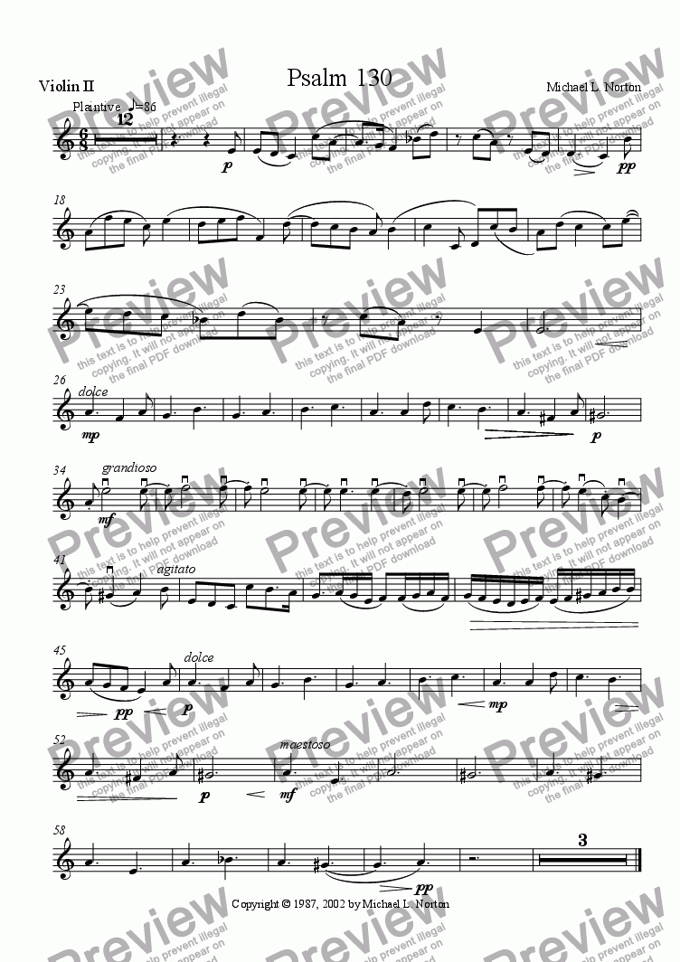 page one of the Violin 2 part from Psalm 130 (SATB with Orchestra)