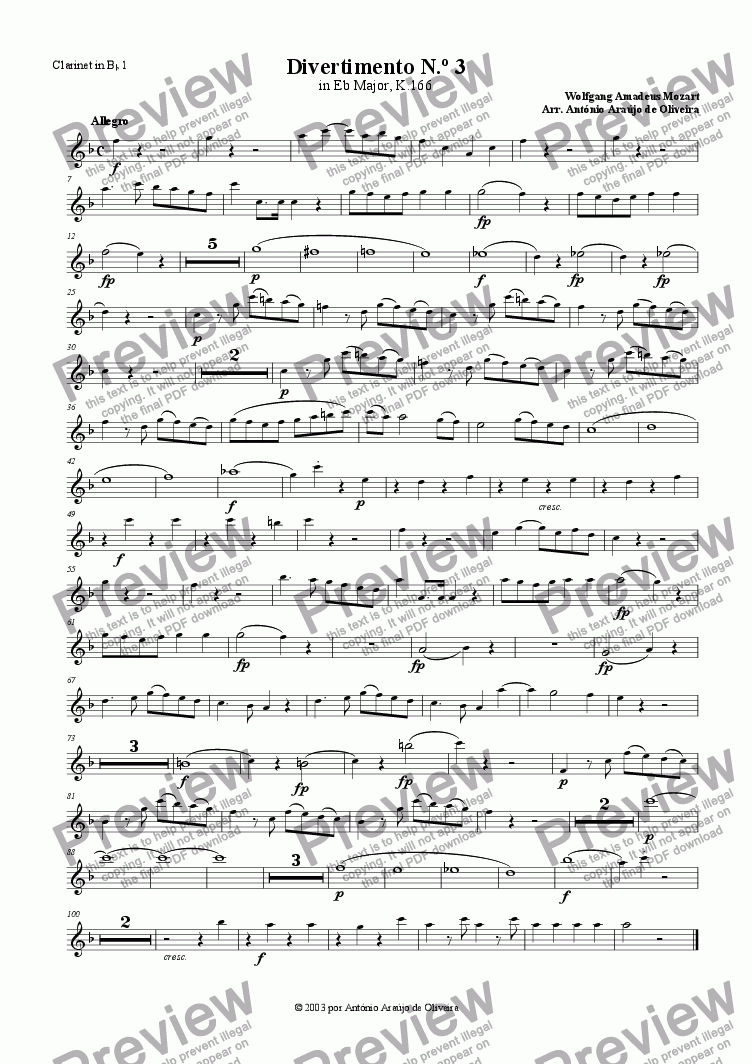 page one of the Clarinet in Bb 1 part from Divertimento No.3 in Eb major, K.166
