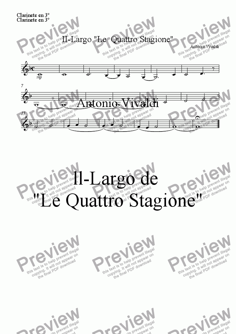 "page one of the Clarinete en 3º part from II-Largo ""Le  Quattro Stagione"""