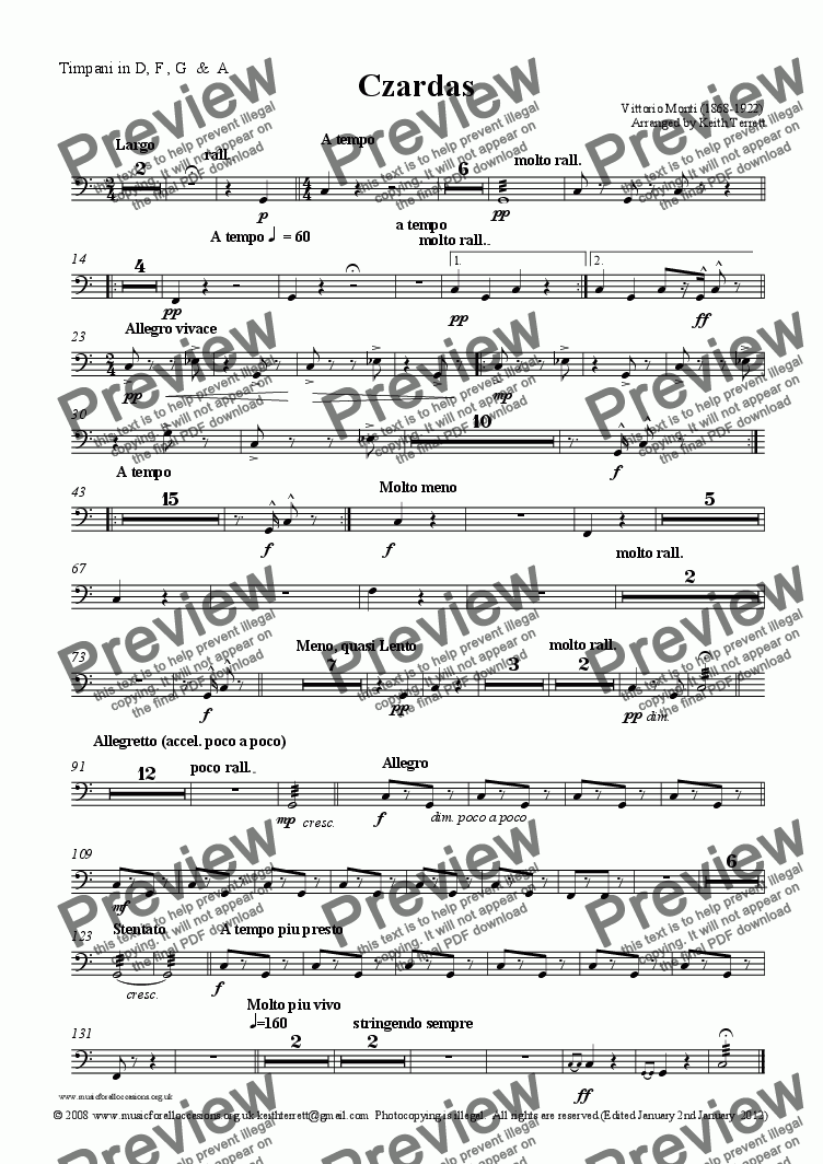 page one of the Timpani in D, F , G  &  A part from Czardas for solo Euphonium & Symphony Orchestra