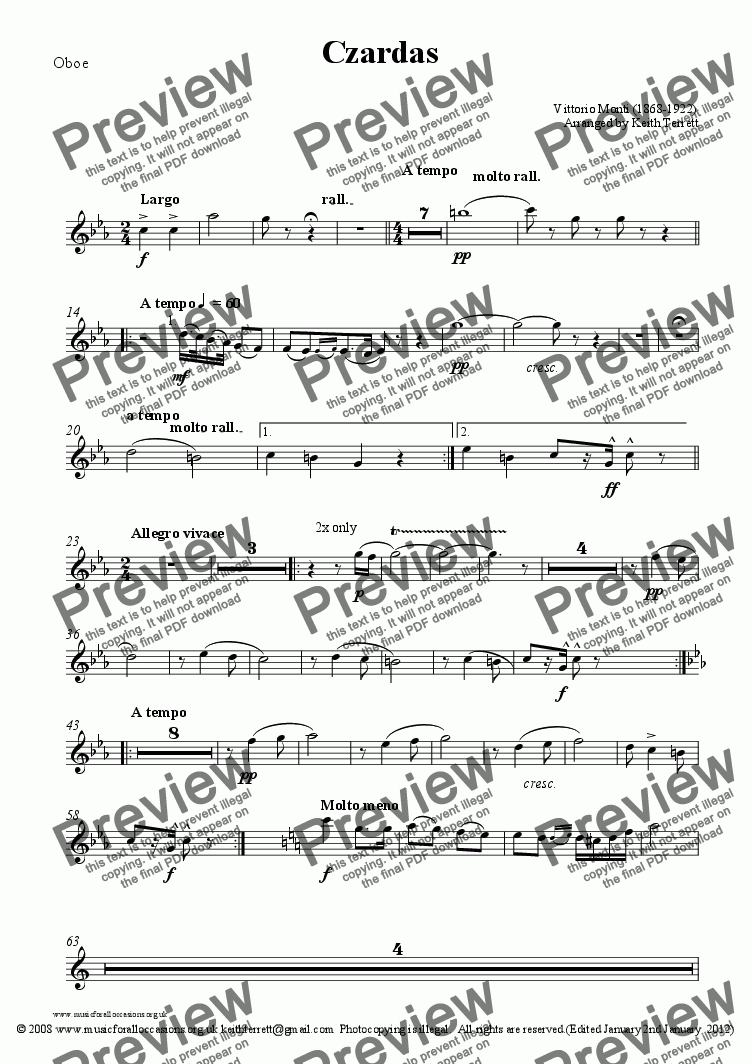 page one of the Oboe part from Czardas for solo Euphonium & Symphony Orchestra