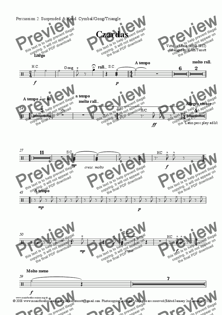 page one of the Percussion 2: Suspended & Hand  Cymbal/Gong/Triangle part from Czardas for solo Euphonium & Symphony Orchestra