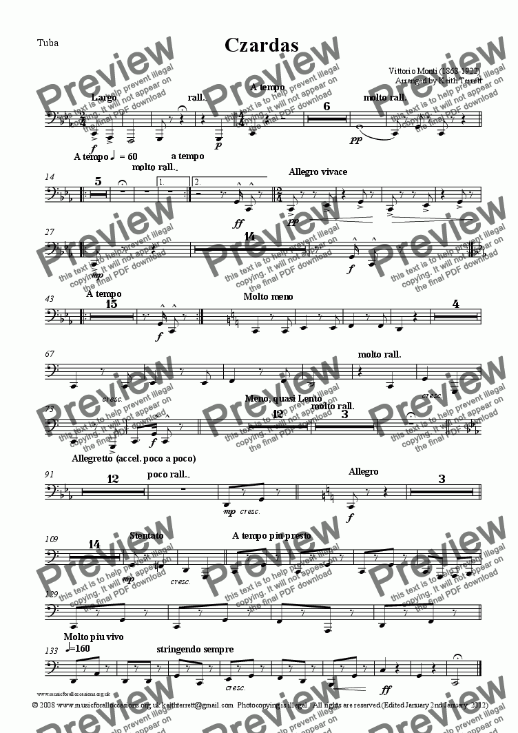 page one of the Tuba part from Czardas for solo Euphonium & Symphony Orchestra