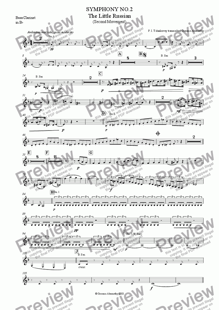page one of the Bass Clarinet part from Symphony No 2 (The Little Russian) 2nd  Movement