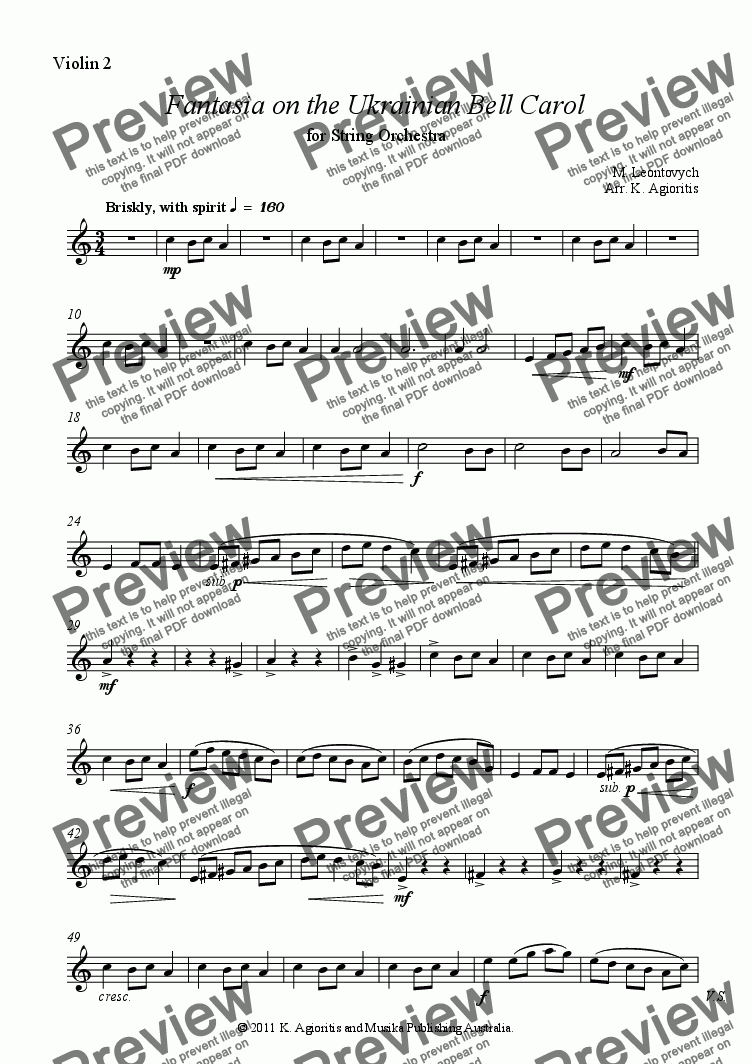 page one of the Violin 2 part from Fantasia on the Ukrainian Bell Carol - for String Orchestra